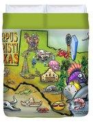 Corpus Christi Texas Cartoon Map Duvet Cover