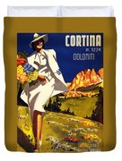 Cortina Dolomiti Italy Vintage Poster Restored Duvet Cover