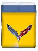Corvette Emblem On Yellow Duvet Cover