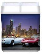 Corvettes In Chicago Duvet Cover