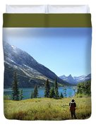 Cosley Ridge Over Cosley Lake - Glacier National Park Duvet Cover