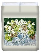 Cosmos And Hydrangeas In A Chinese Vase Duvet Cover