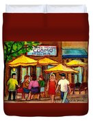 Cosmos  Fameux Restaurant On Sherbrooke Duvet Cover by Carole Spandau