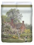 Cottage At Chiddingfold Duvet Cover by Helen Allingham