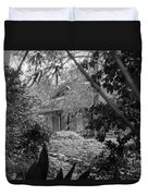 Cottage Black White Gardens Louisiana  Duvet Cover