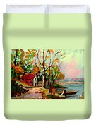 Cottage Country The Eastern Townships A Romantic Summer Landscape Duvet Cover by Carole Spandau