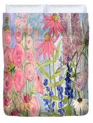 Cottage Flowers With Dragonfly Duvet Cover