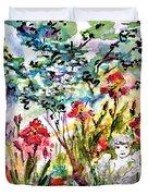 Cottage Garden Angel And Irises Duvet Cover