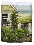 Cottage Garden Beach Getaway Duvet Cover