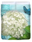 Cottage Garden White Hydrangea With Blue Butterfly Duvet Cover