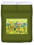 Cottage Gate Seen Through Sun Daisies Duvet Cover