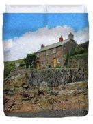 Cottage On Rocks At Port Quin - P4a16009 Duvet Cover