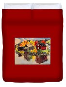 Cottages By A Lake In Autumn  Duvet Cover