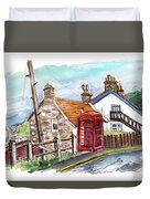 Cottages In Runswick Bay Duvet Cover