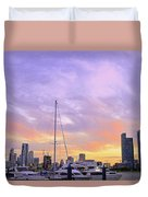 Cotton Candy Sunset Over Miami Duvet Cover