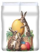 Cottontails And Eggs Duvet Cover