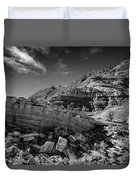 Cottonwood Creek Strange Rocks 3 Bw Duvet Cover by Roger Snyder