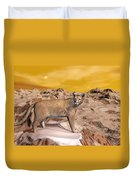Cougar In The Mountain - 3d Render Duvet Cover