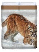 Cougar In The Snow Duvet Cover