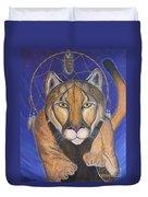 Cougar Medicine With Cobalt Blue Background Duvet Cover