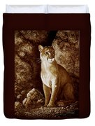 Cougar Wait Until Dark  Duvet Cover
