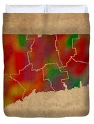 Counties Of Connecticut Colorful Vibrant Watercolor State Map On Old Canvas Duvet Cover
