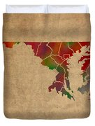 Counties Of Maryland Colorful Vibrant Watercolor State Map On Old Canvas Duvet Cover