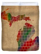 Counties Of Michigan Colorful Vibrant Watercolor State Map On Old Canvas Duvet Cover