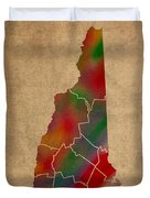 Counties Of New Hampshire Colorful Vibrant Watercolor State Map On Old Canvas Duvet Cover