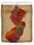 Counties Of New Jersey Colorful Vibrant Watercolor State Map On Old Canvas Duvet Cover