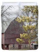 Country Barn With Pine Tree Duvet Cover