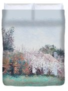 Country Cottage In Spring Time Duvet Cover