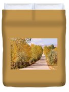 Country Road Autumn Fall Foliage View Of The Twin Peaks Duvet Cover