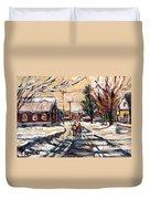 Purchase Best Original Quebec Winter Scene Paintings Achetez  Paysage De Quebec Cspandau Art Duvet Cover
