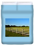 Country Scene With Field And Hay Bales Duvet Cover