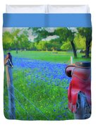 Country Western Blue Bonnets Duvet Cover