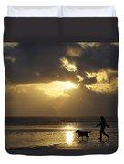 County Meath, Ireland Girl Walking Dog Duvet Cover