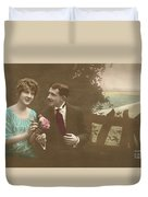 Couple At Beach Colorized Duvet Cover