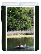 Couple In Row Boat Duvet Cover