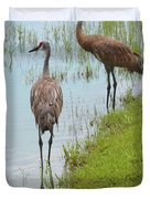 Couple Of Sandhills By Pond Duvet Cover