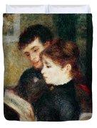 Couple Reading Duvet Cover by Pierre Auguste Renoir