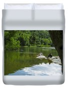 Couple Relaxing By The Shenandoah River At Harpers Ferry Duvet Cover