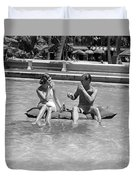 Couple Relaxing In Pool, C.1930-40s Duvet Cover