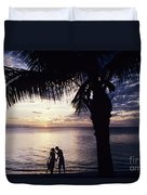 Couple Silhouetted On Beach Duvet Cover