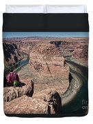 Couple Viewing Horseshoe Bend High Up Edge  Duvet Cover