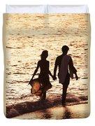 Couple Wading In Ocean Duvet Cover