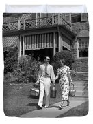 Couple Walking Out Of House, C.1930s Duvet Cover