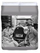 Couple With Their Peerless Car Duvet Cover
