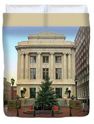 Courthouse At Christmas Duvet Cover