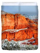 Courthouse Butte And Bell Rock Under Snow Duvet Cover